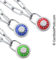 Combination Locks and Chains on White Background