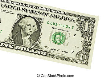 Close-up of one dollar on background
