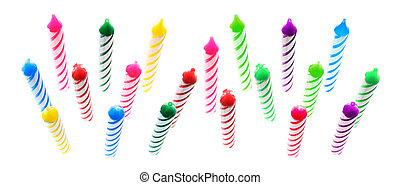 Birthday Candles - Multiple Birthday Candles on White...
