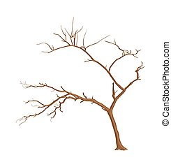 Dead Tree Isolated - Abstract Dead Tree Vector Shape Design
