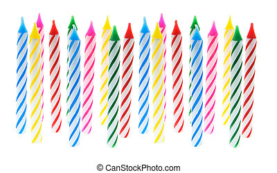 Birthday Candles on White Background