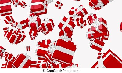 Flying Red Gift boxes on a white background