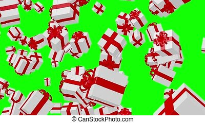 Flying White Gift boxes on a green background