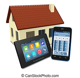 concept of home automation - control panel for home...