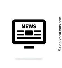 Online news. Desktop PC newspaper icon on white background....