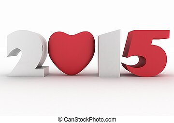 2015 year with heart. Isolated 3D image