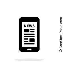 Mobile phone with news icon on white background.