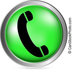 Phone button on white background Vector illustration