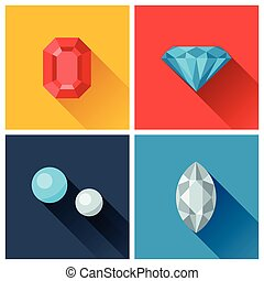 Beautiful jewelry precious stones in flat design style