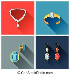 Beautiful jewelry and precious stones in flat design style.