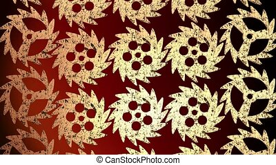 Abstract rotating gears in gold