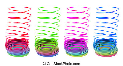Slinky Toys on Isolated White Background