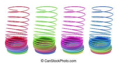 Slinky Toys on Isolated White Background