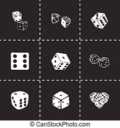 Vector dice icon set on black background