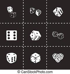 Vector dice icon set on black background