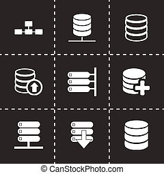 Vector database icon set on black background