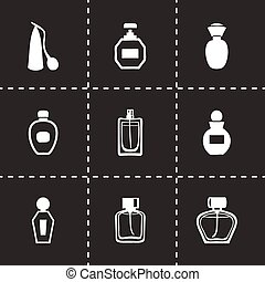 Vector perfume icon set on black background