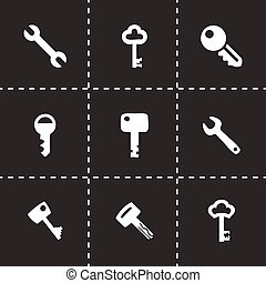 Vector key icon set on black background