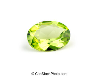 Brilliant natural green peridot isolate on white