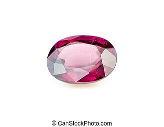 Faceted natural red rhodolite garnet gemstone