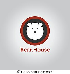 Vector minimalistic bear head logotype - Vector simple...