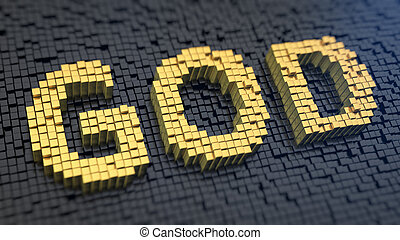 God cubics - Word 'God' of the yellow square pixels on a...