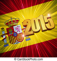 2015 - Spanish flag - new year 2015 - 3d golden figures with...