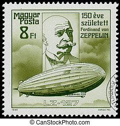 estampilla, Hungría, exposiciones, impreso,  zeppelin