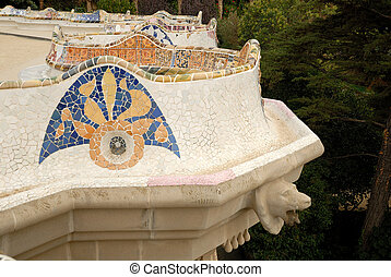 Detail of a terrace in Park Guell designed by Antoni Gaudi, Barcelona Spain