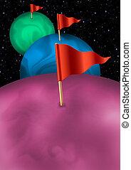 Tre pianeti fantasy con bandierine - Immagine di tre pianeti...