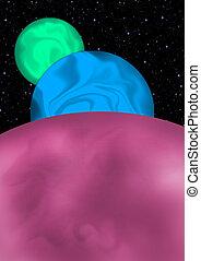Tre pianeti fantasy - Immagine di tre pianeti di diversi...