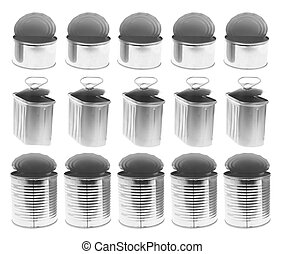 Empty Tin Cans on Isolated White Background