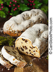 Festive Christmas German Stollen Bread with Powdered Sugar
