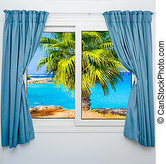 window view of the sea palm - view from the window with a...