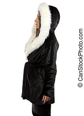Photo of the woman in fur coat - profile