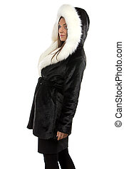 Photo of the smiling woman in fur coat