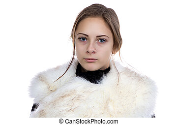 Photo of the young woman in fur