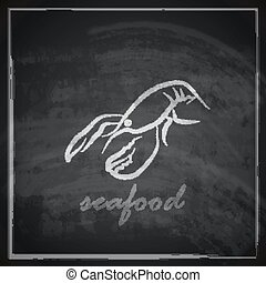 vintage illustration with a lobster on blackboard background...