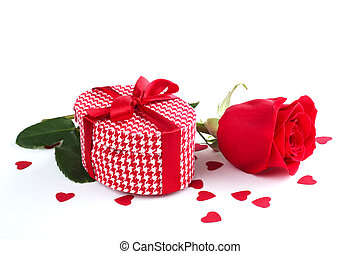 Valentines day gift box, rose and paper hearts isolated on...
