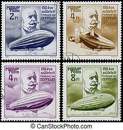 Conjunto, de, sellos, impreso, en, Hungría,...