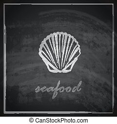 vintage illustration with a clam on blackboard background