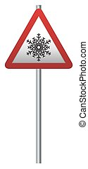 Snow Ahead Signpost - A triangular snow ahead ahead sign on...