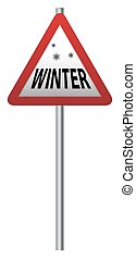 Winter Ahead Signpost - A triangular winter ahead ahead sign...