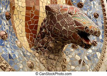 dragón, cabeza, Diseñado, Antoni, Gaudi,...