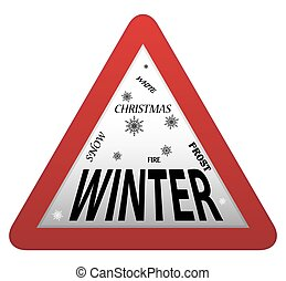 Winter Roadsign - A triangular winter roadsign isolated on a...