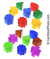 Shape Sorter Toy Blocks on White Background