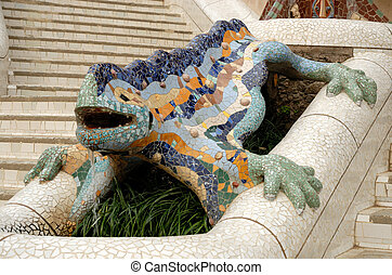 Sculpture of a dragon designed by Antoni Gaudi, Barcelona Spain