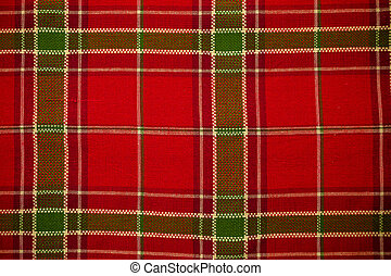 Table cloth - Christmas plaid table cloth as a background.