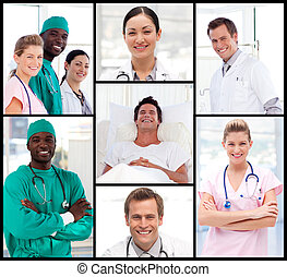 Doctors attending to a patient smiling at the camera - Group...