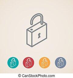 isometric vector lock icons